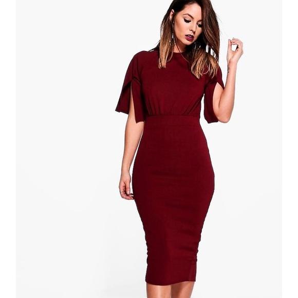 Boohoo Dresses & Skirts - Split Sleeve Detail Wiggle Midi Dress